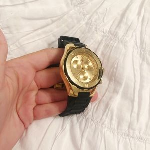 Michele Stainless Steel Black and Gold Watch